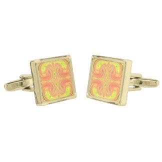 Cosmic Dance Cuff Links, marbled design, square Gold Finish Cufflinks