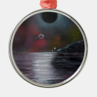 Cosmic Eclipse Silver-Colored Round Decoration