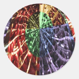 Cosmic Energy - Basket Weave Pattern3 Round Sticker