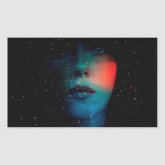 cosmic face in the infinite universe rectangular sticker