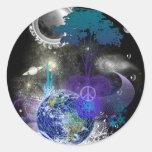 Cosmic geometric peace sticker