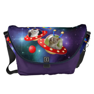 Cosmic Kittens in Alien Spaceship UFO Sci-fi Scene Commuter Bag