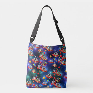 Cosmic Kittens in Alien Spaceship UFO Sci-fi Scene Crossbody Bag