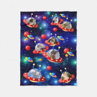 Cosmic Kittens in Alien Spaceship UFO Sci-fi Scene Fleece Blanket