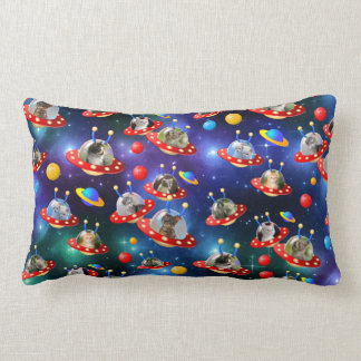 Cosmic Kittens in Alien Spaceship UFO Sci-fi Scene Lumbar Cushion