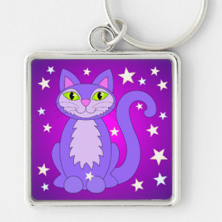 Cosmic Kitty Cat Stars Purple Key Chain