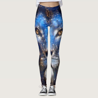 Cosmic Lion God Face Element Yoga Leggings