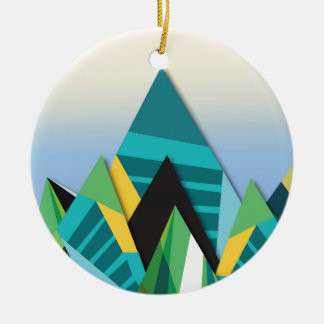 Cosmic Mountains No. 2.jpg Round Ceramic Decoration