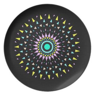 Cosmic Neon Geometric Shatter Design Plate