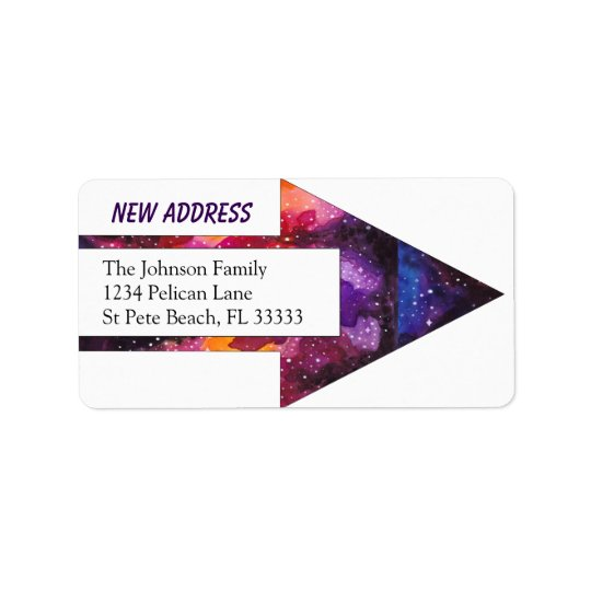 Cosmic Outer Space Arrow Change of Address Label