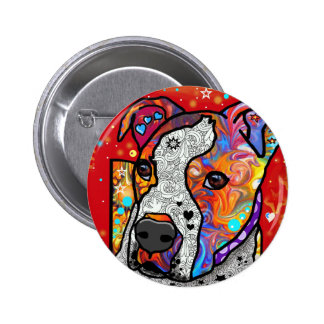 Cosmic Pit Bull - Bright Colorful - Gift Idea 6 Cm Round Badge