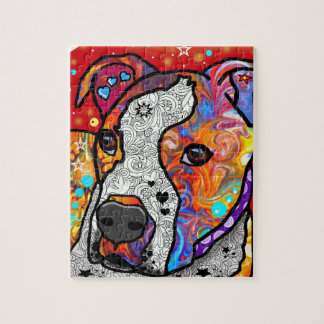 Cosmic Pit Bull - Bright Colorful - Gift Idea Jigsaw Puzzle