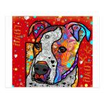 Cosmic Pit Bull - Bright Colourful - Gift Idea Postcard