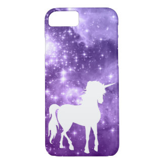Cosmic Purple Magic Stars White Unicorn iPhone 7 Case