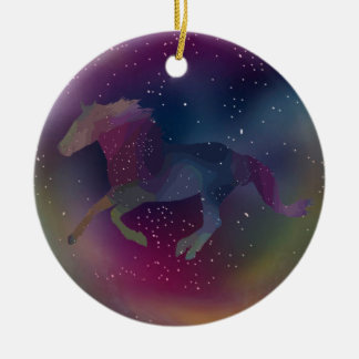 Cosmic Rainbow Mustang Christmas Ornament