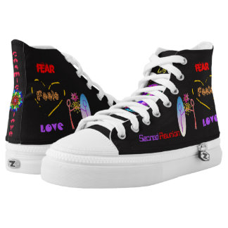 """Cosmic Reunion: Fear Feels Love "" High Top Shoes"