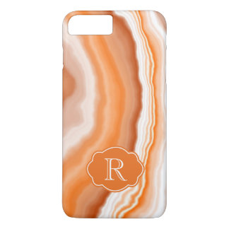 Cosmic Rings Orange Watercolor Agate Rock Monogram iPhone 8 Plus/7 Plus Case