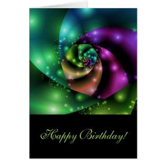 Cosmic Rose Fractal - Birthday Card
