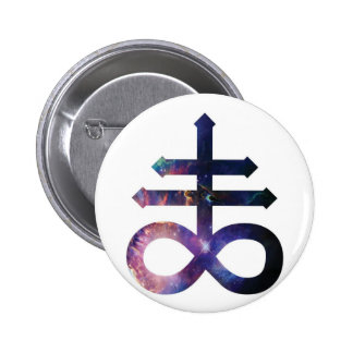 Cosmic Satanic Cross 6 Cm Round Badge