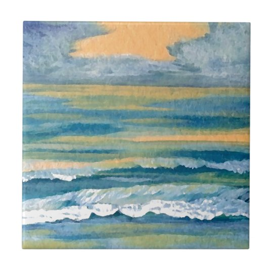 Cosmic Sea Yellow Gold and Blue Sunset Ocean
