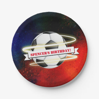 Cosmic Soccer Ball Birthday Party Paper Plate