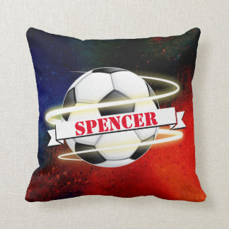Cosmic Soccer Ball Personalized Cushion