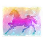 Cosmic Steed Colourful Horse Stars Post Card