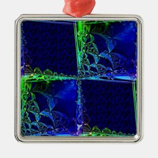 Cosmic Windowpane Silver-Colored Square Decoration