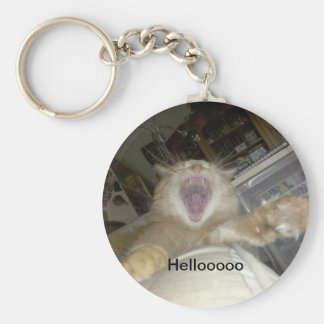 cosmo lion yawn, Hellooooo Basic Round Button Key Ring