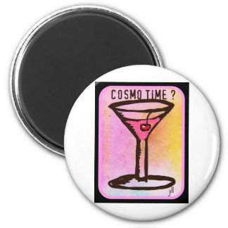 COSMO TIME PINK MARTINI PRINT 6 CM ROUND MAGNET