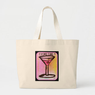 COSMO TIME PINK MARTINI PRINT LARGE TOTE BAG
