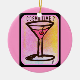 COSMO TIME PINK MARTINI PRINT ROUND CERAMIC DECORATION