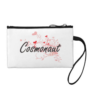 Cosmonaut Artistic Job Design with Hearts Coin Purses