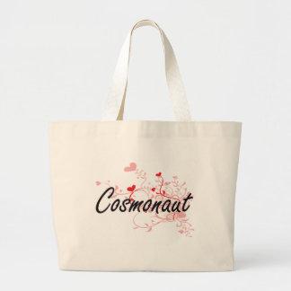 Cosmonaut Artistic Job Design with Hearts Jumbo Tote Bag