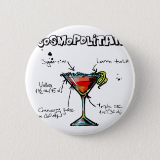 Cosmopolitan Cocktail Recipe 6 Cm Round Badge