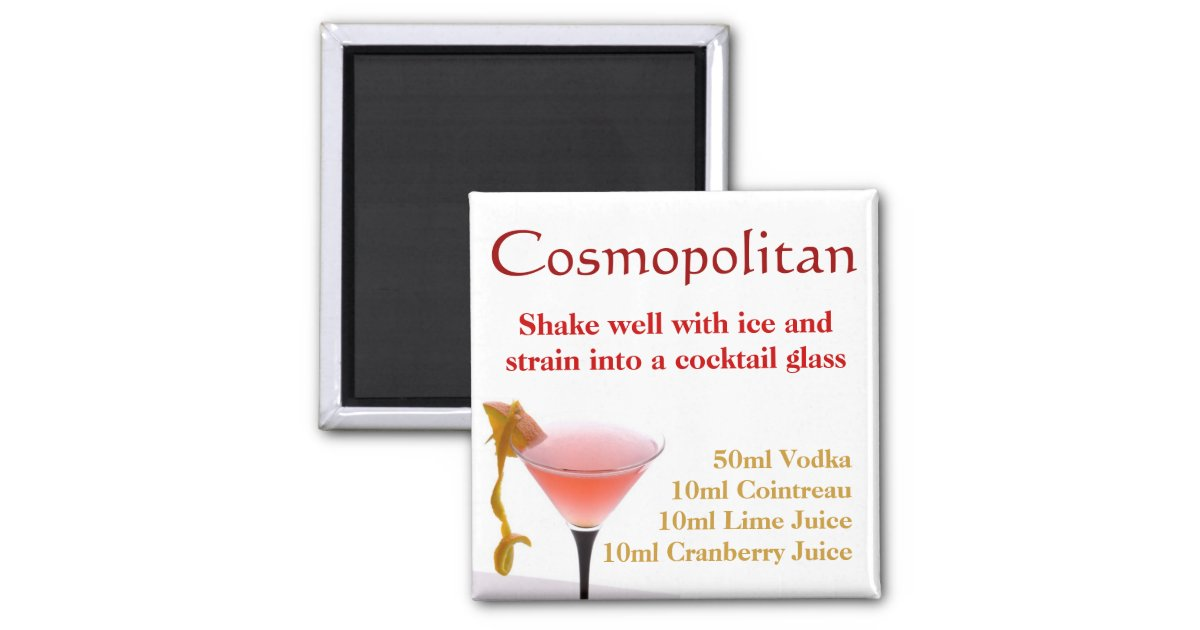 Cosmopolitan Cocktail Recipe Magnet Zazzle Co Uk