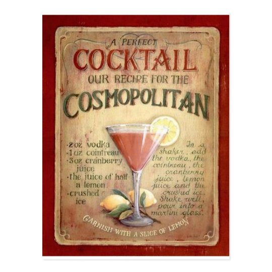 Cosmopolitan Cocktail Recipe Postcard Zazzle Co Uk