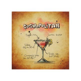 Cosmopolitan Cocktail Recipe Wood Wall Art