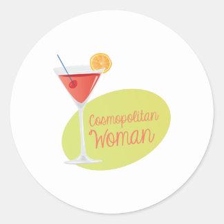 Cosmopolitan Woman Round Sticker