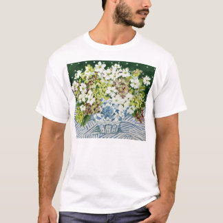 Cosmos and hydrangeas in a chinese vase 2013 T-Shirt