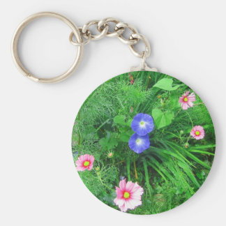 Cosmos and morning glories basic round button key ring