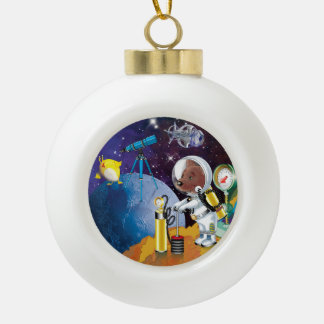 cosmos ceramic ball christmas ornament