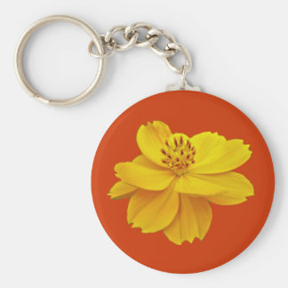 Cosmos (Cosmos sulphureus) Flowers Basic Round Button Key Ring