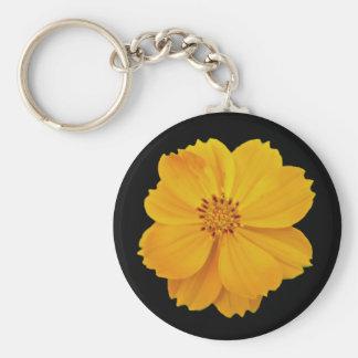 Cosmos (Cosmos sulphureus) Flowers Basic Round Button Key Ring