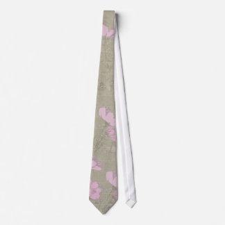 Cosmos Daisies Grey Linen Texture Tie