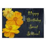 Cosmos Floral Birthday Sweet Sixteen Greeting Card