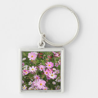 Cosmos Flower (Bidens Formosa). Kirkwood Silver-Colored Square Key Ring