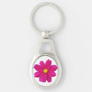 Cosmos Flower Keychain Silver-Colored Oval Key Ring