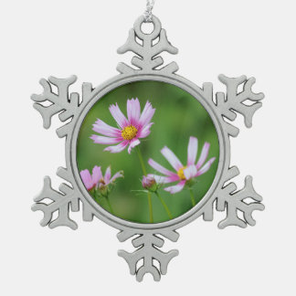 Cosmos Flowers Pewter Snowflake Decoration