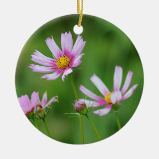 Cosmos Flowers Round Ceramic Decoration